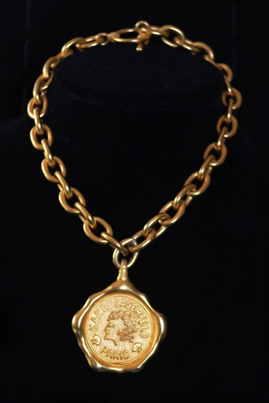Karl Lagerfeld Gold Plated Coin Necklace